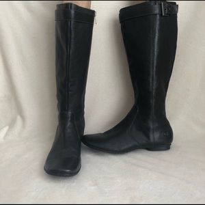 Born black leather tall boots no heel